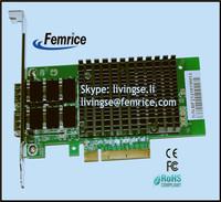 Server Application Black Heat Sinks PCI Express Interface Type 10000Mbps Ethernet Fiber Optical Card