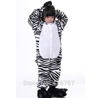 Free shipping cute zebra children one piece sleepwear 2014 new black white stripe unisex pajamas