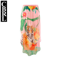 2014 new European station counters with paragraph tiger print flower short in front long skirt bust