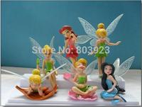 2014 Hot  Cartoon TINKERBELLToys  children  Beautiful faery six wings PVC Toys  6pcs/set