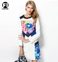 Fancyinn 2014 European Women's New Arrival Autumn Brand Rose Flower Printing Fitting Long-sleeve O-neck Slim Dresses