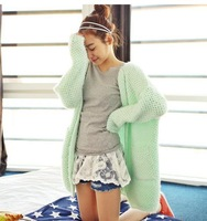 Fashion Style Cute Loose Long Mint Cardigans Sweater Free Shipping 2014 New Autumn Pink Green Beige Free Size 21213