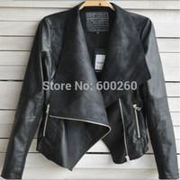 2014 New Arrival Women Leather Jacket Slim Leather Motorcycle Jacket Turn Dow Long Sleeve Zipper Jacket Coat S-XXL