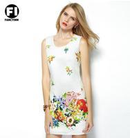 Fancyinn 2014 European and American Slim Sweet New Printing Slim Vest Dress