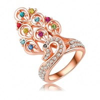 18K Rose Gold Plate Luxury Peacock Princess Engagement Rings Pave Austrian Crystals Charm Jewelry Ri-HQ0196
