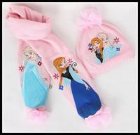 Frozen Winter Accessories Scarf & Hat Frozen Queen Elsa & Anna Muffler Neckerchief & Cap Hat Free Shipping