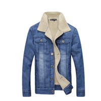 2014 New Arrival Warm Style Men's Slim And Korean Style Jeans Jacket for Winter High Quality and Fashion MWJ554