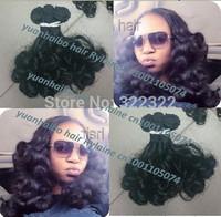 Best 6a quality 3pcs/lot 1b# bouncy curl brazilian virgin aunty funmi hair extension for black women free shipping