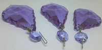 "6PCS LILAC CRYSTAL CHANDELIER PENDALOGUE FRENCH PRISMS WEDDING 3.0"" - NICKEL PIN"