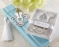 2014 best wedding favor Fleur de lis bookmark with Elegant white tassel bridal shower party supplies guest keepsakes gift 100pc