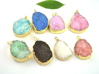10pcs Druzy Drusy Quartz Pendant, Gold plated Edge Druzy Pendant in Mixed color, Gem Stone Pendant for Charm Necklace
