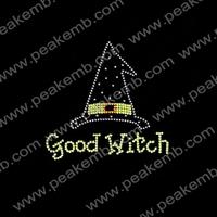 Free Shipping 50Pcs/Lot Good Witch Bling Rhinestone Iron On Transfers Custom Halloween Costumes Designs Wholesale