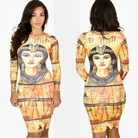 2014 New Fashion Night Club Bodycon Dresses Party Prom Tank Top Cleopatra Print Long Sleeve Autumn Dress