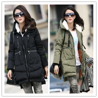 New 2014 Fashion Brand Long Winter Coat Women White Duck Down Jacket Female Parka With Hood Army Green Black Outwear For Women