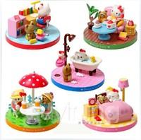 Free shipping HelloKitty toys dolls Hello Kitty KT cat scene Action figures model boxed gift very beautiful 5pcs/set