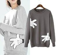 European Style Mickey Gloves Print O-Neck Full Sleeve Blouse Free Shipping 2014 New Winter Gray Dark Gray Free Size 21215