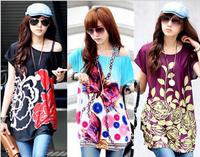 Fashion women t-shirts 2014 casual blusas feminina loose o-neck T-shirt women ladies tshirts dress women clothing cltothes