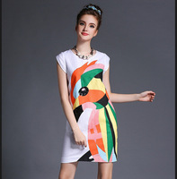 M32843 free shipping high degree new design 100% authentic 5XL women Autumn dress 2014
