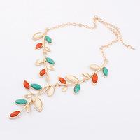 Min. Order $8.8(Mix Orders) Hot Sale 2014 New Trendly Fashion Elegant Metal Leaf Necklace For Women  FN0125