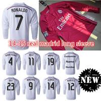 2014 15 real madrid long sleeve soccer jersey RONALDO RAMOS BALE ISCO top thai quality football shirt jerseys custom name