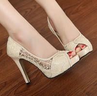 women shoes winter 2014 Spring and autumn lace waterproof hollow fish head high heels Roman sandals child