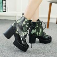 plus size Eur 32-43 girls pumps high heels ankle booties women army winter autumn boots ladies platform shoes woman SX141103