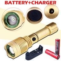 2000 lumens LED lanterna cree xm-l t6 flashlight torch shocker Zoomable lamp +18650 battery+AC Charger