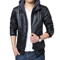 Free shipping 2014 winter Cotton padded Men Jackets Thicken outwear slim fit leather jackets Men Fashion transverse leather coat