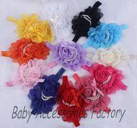 Wholesale Novelty Infant Elastic Headband Baby Chiffon Pearl Flower Headband Newborn Chiffon Hair Band Hair Apparel Accessories