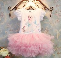 2014 New 3-10yrs Girls' Frozen Dress kid's 2014 cartoon summer dress girl's tutu girl's princess dress