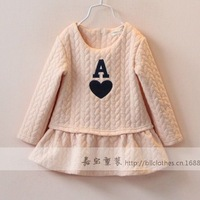New arrival wholesale 5pcs/lot fashion baby girl cotton dress princess embossed floral dress kids casual patch letter ball dress