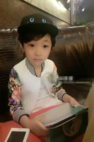 Free Shipping Wholesale (5 Size/Lot) New 2014 Childrens Kids Boys Autumn Fashion Tiger Head Flower Stitching Zipper Jacket
