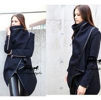 2014 Autumn Winter Woolen Coat Womens Overcoat Temperament Slim Trench Desigual femininos Wool & Blends Free Shipping M-XXL