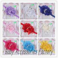 Free Shipping Girl Infant Elastic Headband Baby Chiffon Pearl Flower Headband Newborn Chiffon Hair Band Hair Apparel Accessories