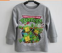 Free shipping children clothing kids Teenage Mutant Ninja Turtles long sleeved t shirt grey top 10pcs/lot
