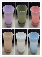 10 pieces/lot plastic small wavy-edge flowerpot with tray