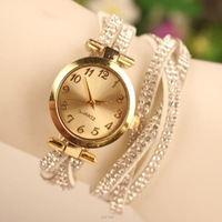 Casual Watch Leather Strap Full Rhinestone quartz Watches Gold Dial item hours Bracelet watch Women