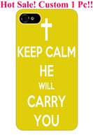 yellow cross keep calm and he will carry you theme pattern print protector cover sleeve cases for apple iphone 5 5S 5G