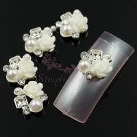 20pcs/lot Mini White Rose Flower Resin Decor Silver Tone Alloy Metal 9x10MM 3D DIY Craft Phone Nail Art Manicure Supplies Retail