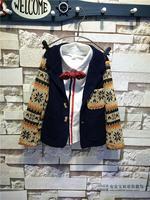 Free Shipping Wholesale (5 Size/Lot) New 2014 Childrens Kids Boys Autumn Fashion Personality Knit Stitching Blazer