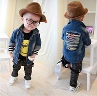 Free Shipping Wholesale (5 Size/Lot) New 2014 Childrens Kids Boys Autumn Fashion Personality Back Vulnerability Denim Jacket