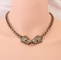 Min. Order $8.8(Mix Orders) Hot Sale New Antique Gold Double Leopard Head Pendant Women Vintage Necklaces FN0128