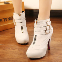 2014 Brand New Autumn Winter Women ankle boots motorcycle ladies red bottom Belt buckle high heels Zipper shoes J3500