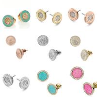 Brincos Grandes Classic Earrings Women Stylish Rhinestone Crystal Round Stud Earrings