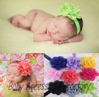 Wholesale 50pcs Chic Infant Elastic Headband Baby Mesh Lace Chiffon Flower Headband Newborn Hair Band Hair Apparel Accessories