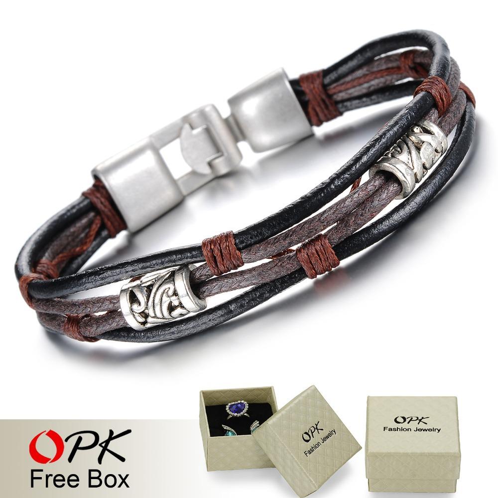 OPK Handmade Multi-Layer Man Bracelet New Fashion Leather Punk Rock Jewelry For Men Vintage Design Accessories 855(China (Mainland))