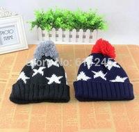Min.order is usd15(mix order) Fashion New Custom Foldable Star Jacquard Pom Pom Acrylic Knit Beanie Hat