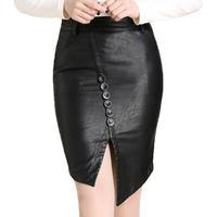 S-XXXL 2014 Woman Spring Autumn Fashion Plus Size Split Irregular OL Formal Slim Hip Medium-long Pencil PU Leather Skirts