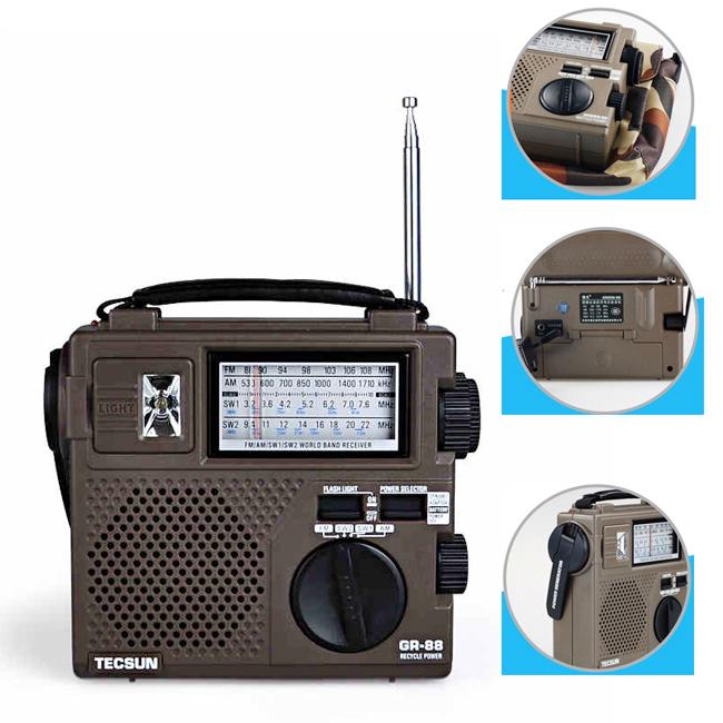Portable TECSUN GREEN-88 Full-band radio FM/AM/SW Hand Crank Rechargeable Radio(China (Mainland))