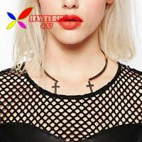 2014 new fashion hit-hop club accessories gun black alloy cross false collar cuff choker necklace for women colliers wholesale